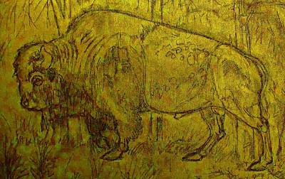 Drawing - Golden  Buffalo by Larry Campbell