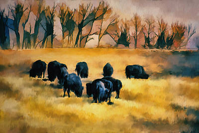 Bison Digital Art - Bison Souther Alberta Old Coal Road by Diane Dugas