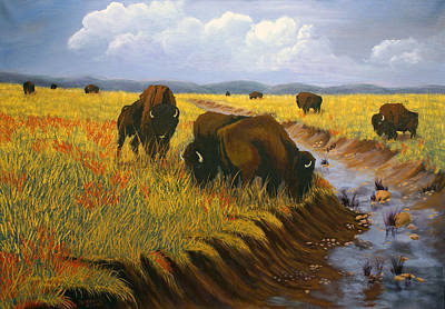 Painting - Bison Still Roam The Plains by J Cheyenne Howell
