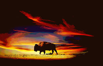 Digital Art - Bison Sunset  by Ann Powell