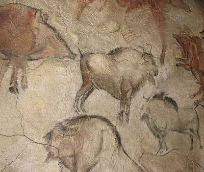Paleolithic Drawing - Bison Wild Boar Livestock by L Brown