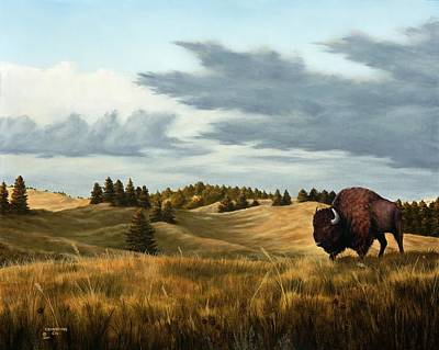 Skyscape Painting - Bison  Wind Cave Park  South Dakota by Rick Bainbridge