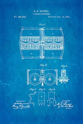 Bissell Carpet Sweeper Patent Art 1876 Blueprint Art Print