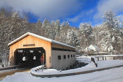 Photograph - Bissell Covered Bridge In Winter by John Burk