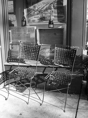 Photograph - Bistro Chairs In Black And White by Margie Avellino