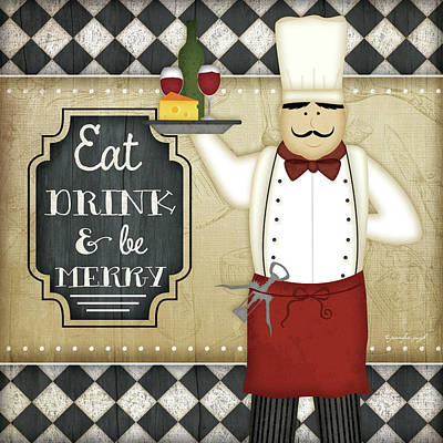 Bistro Chef  Be Merry Art Print by Jennifer Pugh