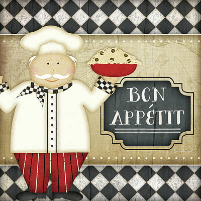 Bistro Chef Bon Appetit Art Print by Jennifer Pugh