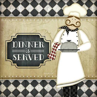 Bistro Painting - Bistro Chef Dinner Is Served by Jennifer Pugh