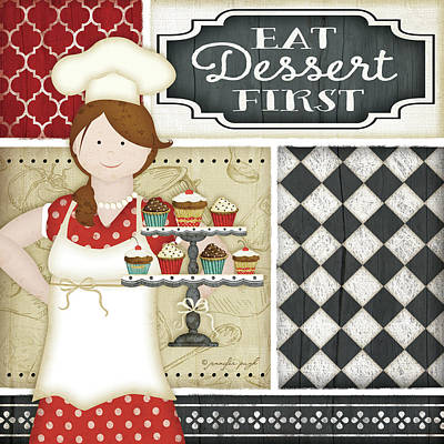 Bistro Chef Art Print by Jennifer Pugh
