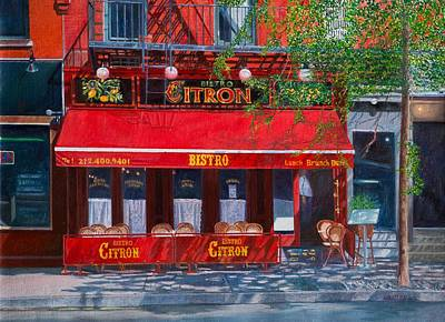 Storefront Painting - Bistro Citron New York City by Anthony Butera