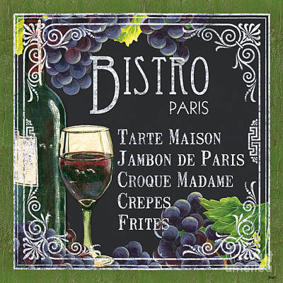 Wine Glass Painting - Bistro Paris by Debbie DeWitt