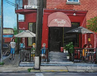 Streets Of Quebec Painting - Bistro Piquillo In Verdun by Reb Frost