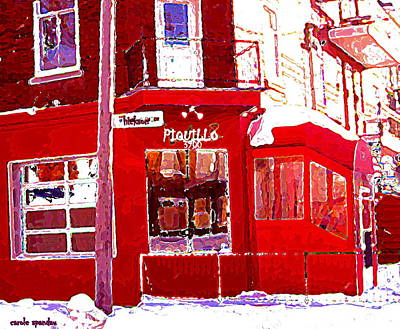 Quebec Streets Drawing - Bistro Piquillo Restaurant Cold Day In Verdun Winter Scene Urban Eateries Montreal Art C Spandau by Carole Spandau