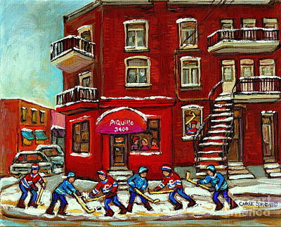 Painting - Bistro Piquillo Street Hockey Game Near The Resto Paintings Of Verdun Winter City Scenes Cspandau  by Carole Spandau
