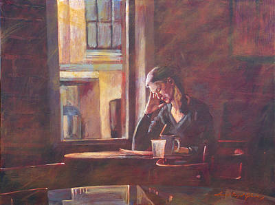 Narrative Painting - Bistro Student by David Lloyd Glover