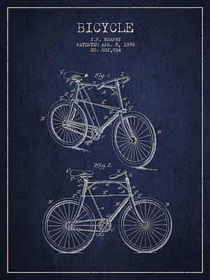 Pedal Drawing - Bisycle Patent Drawing From 1898 by Aged Pixel