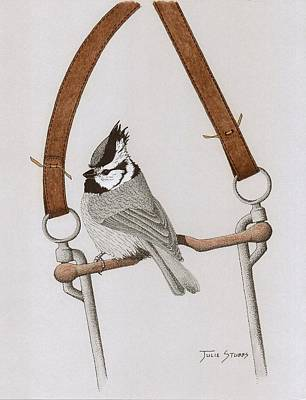Titmouse Drawing - Bit And Bridled by Julie Stubbs