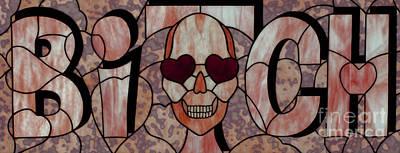 Uroboros Glass Glass Art - Bitch Skull by David Kennedy