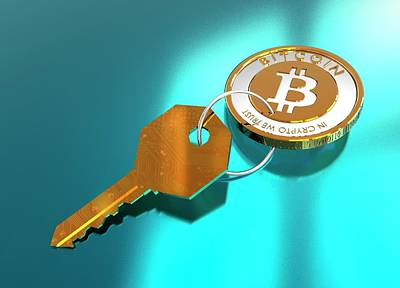 Bitcoin And Key Art Print by Victor Habbick Visions/science Photo Library