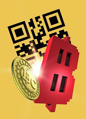 Electronic Photograph - Bitcoin And Qr Code by Victor Habbick Visions