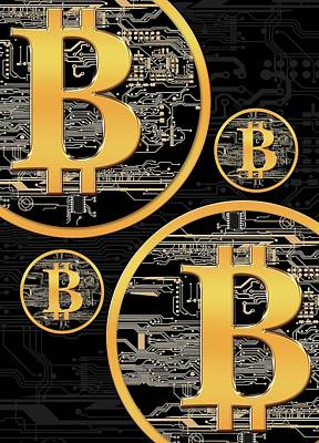 Circuit Photograph - Bitcoin Logo On Circuit Board by Victor Habbick Visions