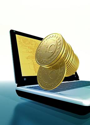 Electronic Photograph - Bitcoins And A Laptop by Victor Habbick Visions