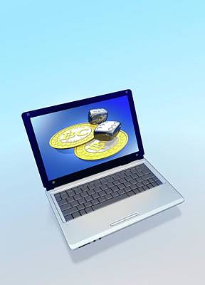 Electronic Photograph - Bitcoins And Dice On A Laptop by Victor Habbick Visions