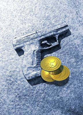Coins Photograph - Bitcoins And Gun by Victor Habbick Visions