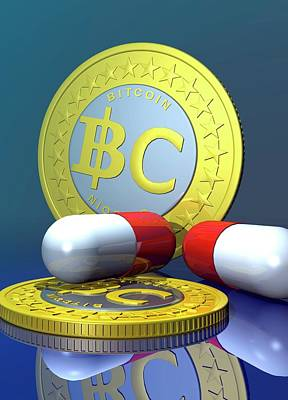 Coins Photograph - Bitcoins And Medicine by Victor Habbick Visions