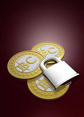 Electronic Photograph - Bitcoins And Padlock by Victor Habbick Visions