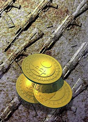 Coins Photograph - Bitcoins And Weapons by Victor Habbick Visions