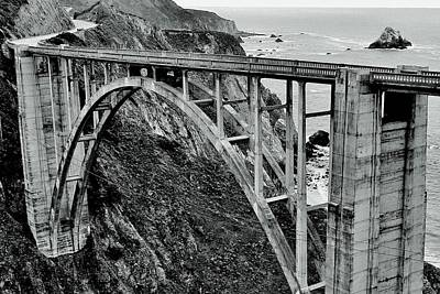 Photograph - Bixby Creek Bridge Black And White by Benjamin Yeager