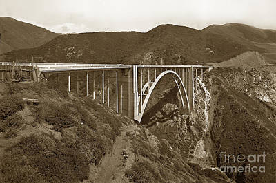 Photograph - Bixby Creek Bridge Highway One Big Sur California 1933 by California Views Mr Pat Hathaway Archives