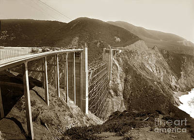 Photograph - Bixby Creek Bridge Under Construction Big Sur Coast  On Highway One Calif. May. 1932 by California Views Mr Pat Hathaway Archives