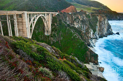 Rocky Creek Photograph - Bixby Sunrise - View Of Big Sur In California During Sunrise With Bixby Bridge. by Jamie Pham