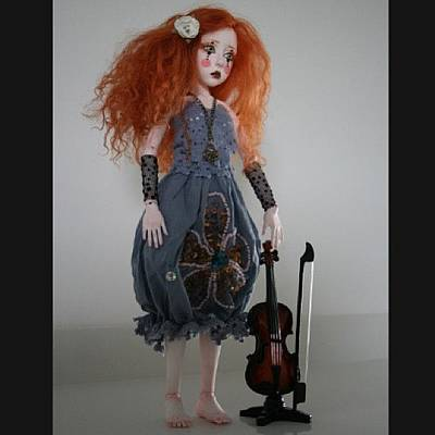 Violin Wall Art - Photograph - #bjd #handmade #doll #art #balljointed by Anna Gechtman