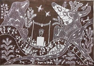 Indian Tribal Art Painting - Bjm 34 by Balu Jivya Mashe