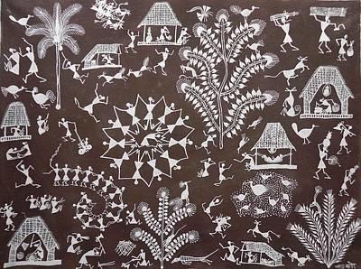 Indian Tribal Art Painting - Bjm 35 by Balu Jivya Mashe