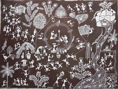 Indian Tribal Art Painting - Bjm 36 by Balu Jivya Mashe