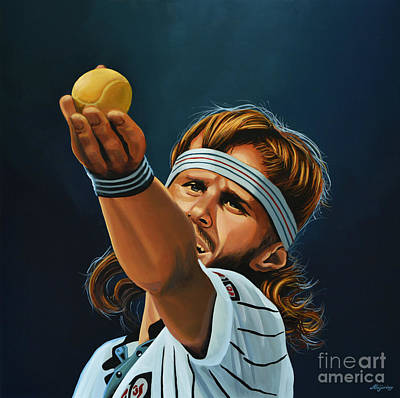 Action Portrait Painting - Bjorn Borg by Paul Meijering