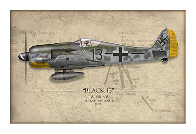 Butcher Painting - Black 13 Focke-wulf Fw 190 - Map Background by Craig Tinder