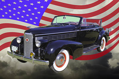Photograph - Black 1938 Cadillac Lasalle With United States Flag by Keith Webber Jr