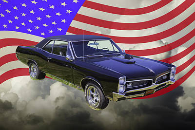 Photograph - Black 1967 Pontiac Gto With American Flag by Keith Webber Jr