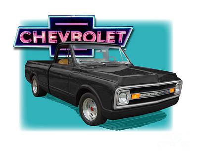 Black 1969 Chevy Pu 1969  Art Print by Dan Knowler
