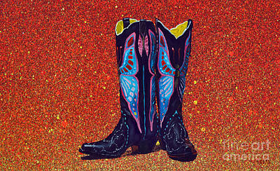 Painting - Black And Blue Boots by Mayhem Mediums