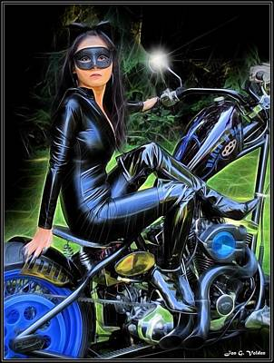 Heavy Metal Painting - Black And Blue Cat Woman by Jon Volden