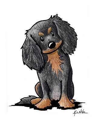 Spaniel Drawing - Black And Brown Ckc Spaniel by Kim Niles