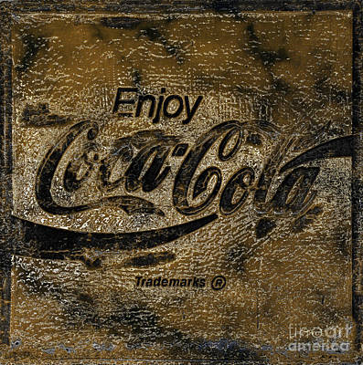Black And Gold Abstract Coca Cola Sign Print by John Stephens