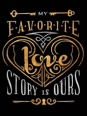 Black And Gold Love Story Art Print