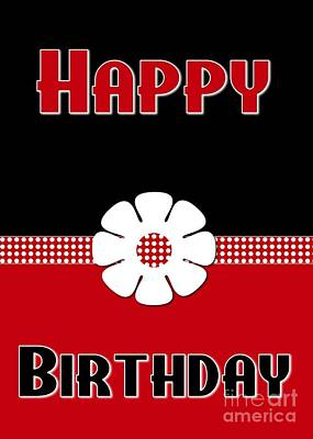 Digital Art - Black And Red Polka Birthday by JH Designs